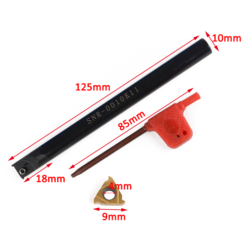 1pc Right Hand Boring Holder Internal Lathe Threading Turning Tool Holder + Wrench with 11IR A60 Carbide Insert