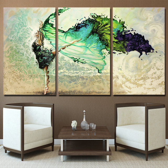 Wall Art Poster Modular Hd Prints Pictures 3 Pieces Home Decor Green Ballerina Erfly Dancing