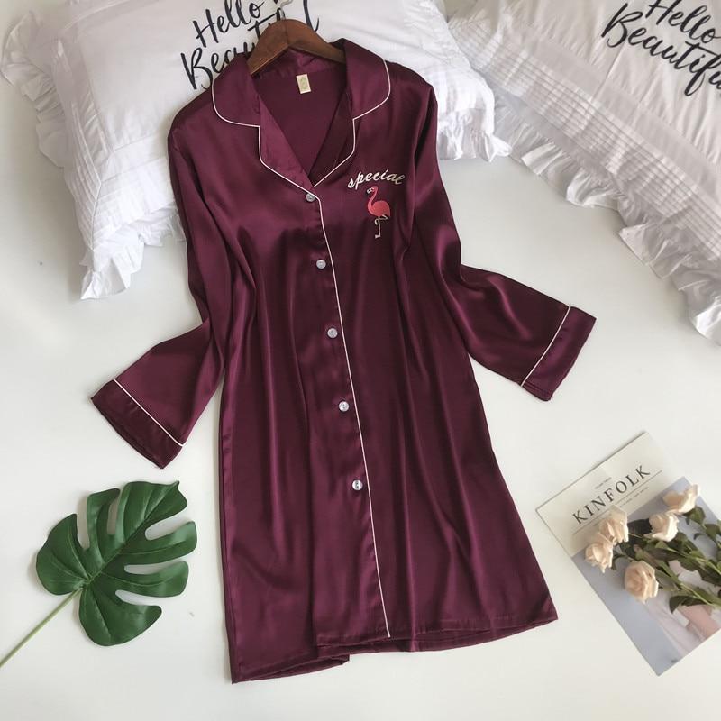 ZOOLIM Spring Women Flamingo Silk   Nightgowns   Satin Sleepwear Sexy Lingerie Nightshirts Long Sleeve Casual Loose   Sleepshirts