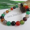 Natural Colorful Agate bracelet  Chakra Stones Healing Jewelry 8mm to 14mm String Bracelets Costume Jewelry Bracelets womens
