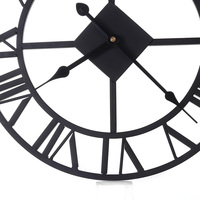 Vintage Wall Hanging Clock Big Roman Numerals Giant Open Face Hollow Iron 38cm