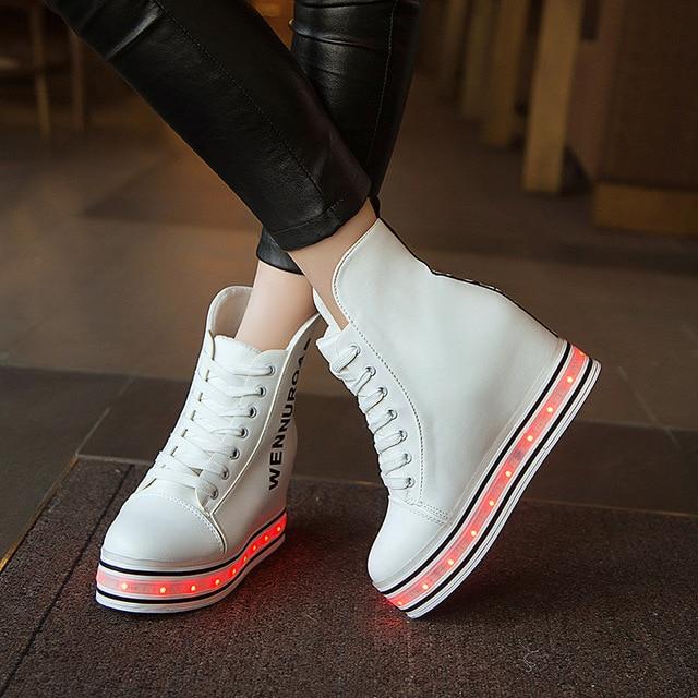 Размер 35-39//USB Зарядки Корзины Привело Девочек Shoes with Light Up Kids Случайные Танцы Светящиеся Кроссовки Светящиеся музыка High Shoes