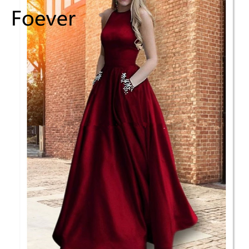 Burgundy Prom Dresses with Pockets A-Line Satin Elegant Burgundy Women Long Formal Evening Party Gowns Special Occasion