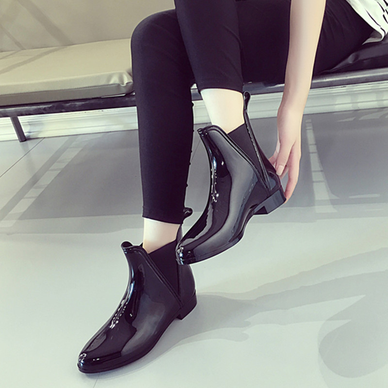 New summer Designer black rain boots women fashion rubber ankle boots for women slip on shoes woman boots mujer female