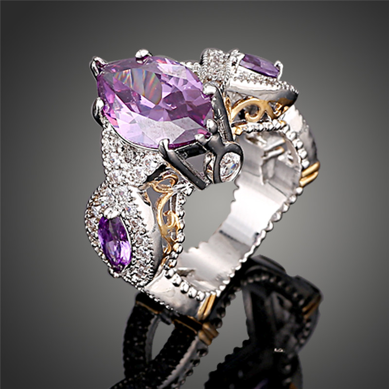 2016 new fashion purple crystal classic color luxury austrian crystal gothic wedding rings for women best gift j01927 - Goth Wedding Rings