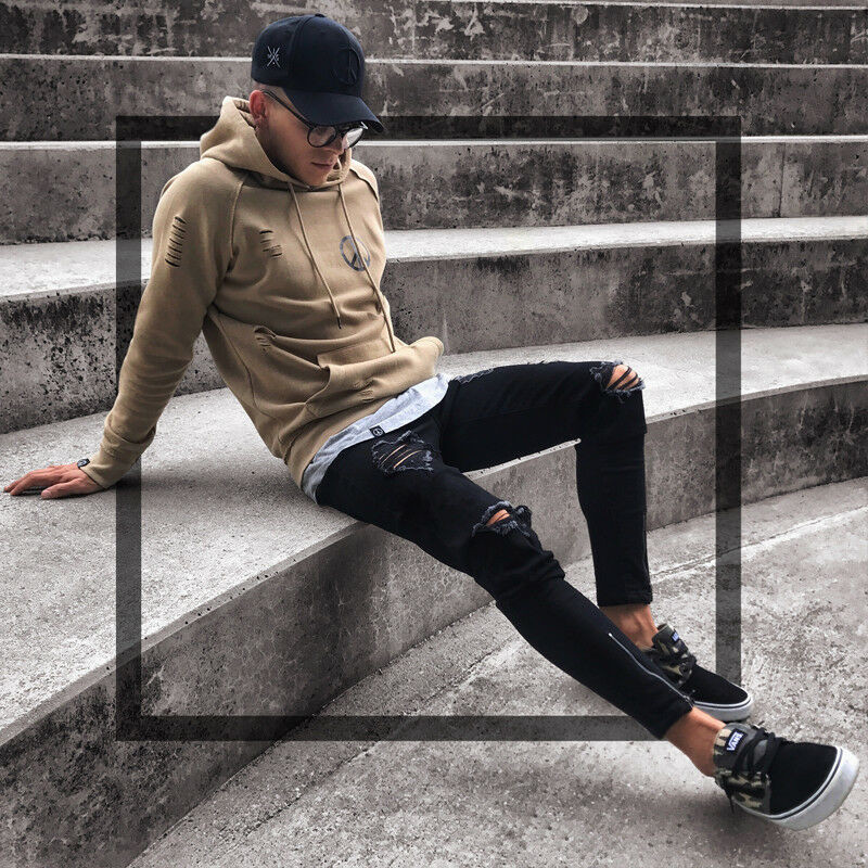 Mens Cool Designer Brand Black Jeans Skinny Ripped Destroyed Stretch Slim Fit Hop Hop Pants With Holes For Men F3