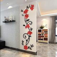 2019 Rushed Promotion Vinilos Paredes Acrylic Material Stickers Modern Home Decor For Bedroom Backgroud Wall 3 D Flower Sticker