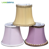 Nordic Art Deco Fabric Lampshade Copper/Purple/Pink Cloth Wall Light Lamp Shade Crystal Candle Pendant Lamp Light Shade