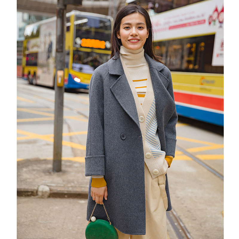 INMAN Autumn Clothing Loose Style Turn Down Collar Solid Color Causal Women Wool Coat