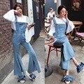 Women Fashion Denim Overalls Star Style Split Flar Suspender Jeans Bell Bottom Bib Jeans Female Boot Cut Denim Jumpsuit