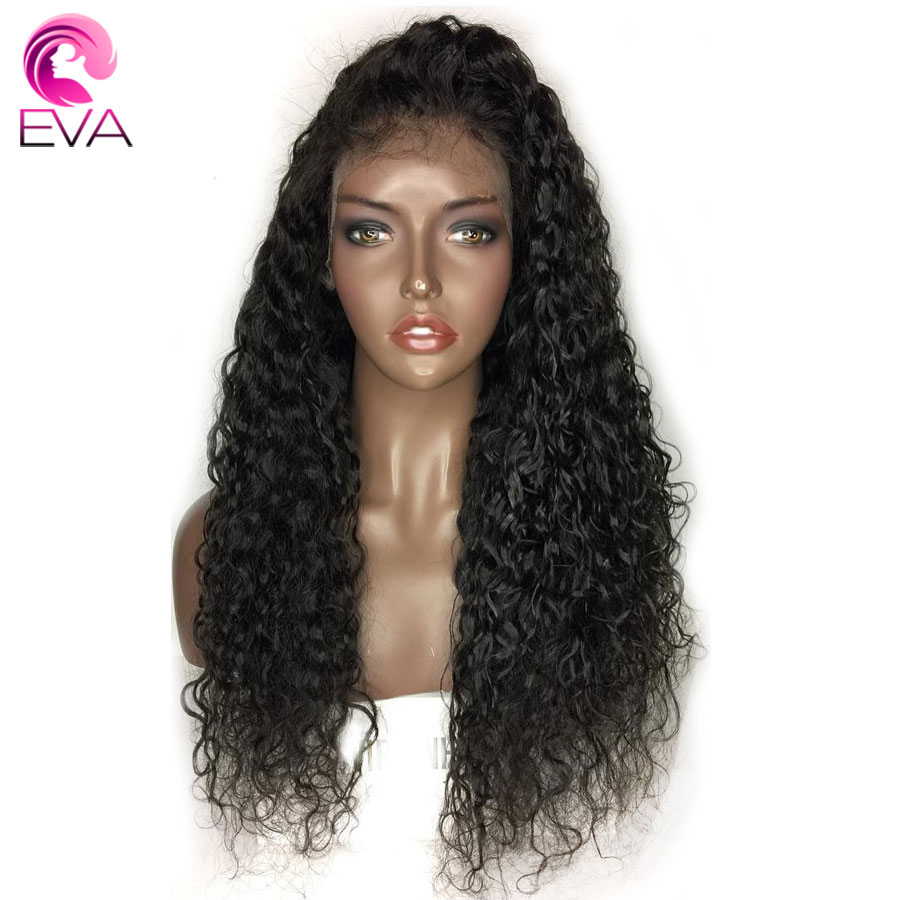 ЕВА вьющиеся Full Lace человеческих волос парики с ребенком волос предварительно сорвал волосяного покрова бесклеевого парик для Для женщин бр