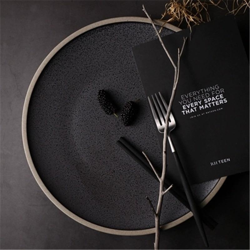 KINGLANG européen Western Steak plaque cristal noir grande assiette en céramique assiette plats ménage Dessert assiette ronde