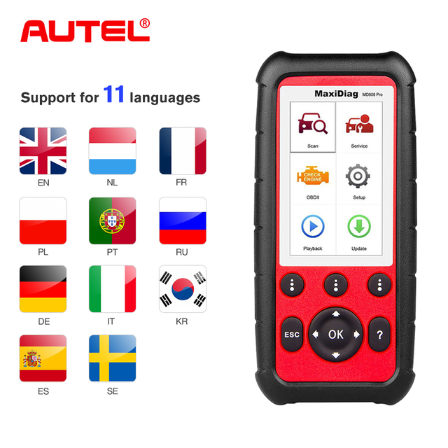 Autel MD808 PRO Full Systems OBD2 Car Diagnostic  Tool  for Engine, Transmission, SRS and ABS with EPB, Oil Reset, DPF, SAS,BMS