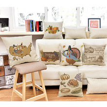 Foreign trade sales pumpkin Turkey for Thanksgiving gift printed pillow cushion cover