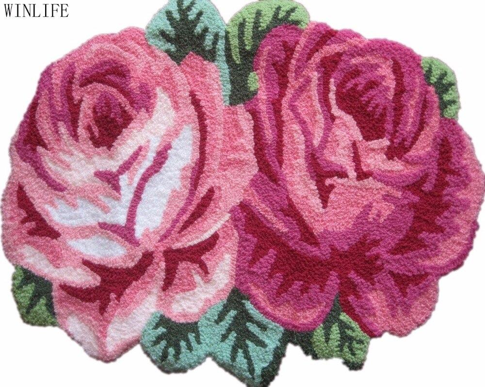 WINLIFE tapis fait main tapis anti-dérapant pour salon chambre tapis Rose Rose
