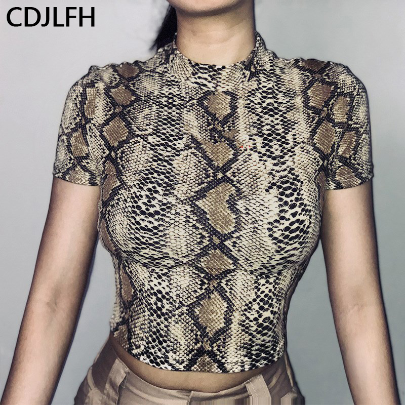 CDJLFH New Vogue Snake Print Women Crop Top Harajuku Animal Graphic Women Tshirt Sexy 90s Aesthetic T Shirt Femme Tumblr Ulzzang