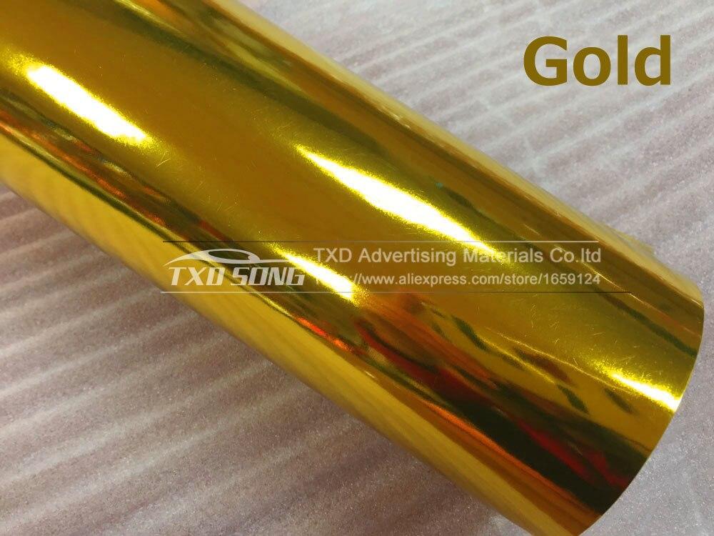 Высокая растягивающаяся Водонепроницаемая УФ-защита темно-синяя Хромовая зеркальная виниловая пленка, рулонная пленка для автомобиля, наклейка, лист - Название цвета: GOLD