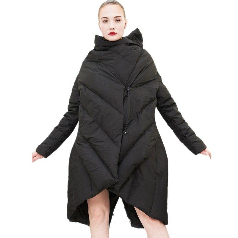 Canard Veste Hiver Duvet Black Vers Femmes 90 Arrivée Chaud De Mode Manteau Le Nouvelle Lâche 2018 Bas Long Blanc Irrégulière nqT4X10