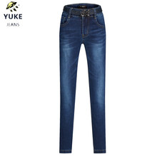 YUKE New Girl Jeans Childrens Slim Sexy Elasticity Tights Kids 5-10 Age Embroidered Skinny Pants With Belt I34325