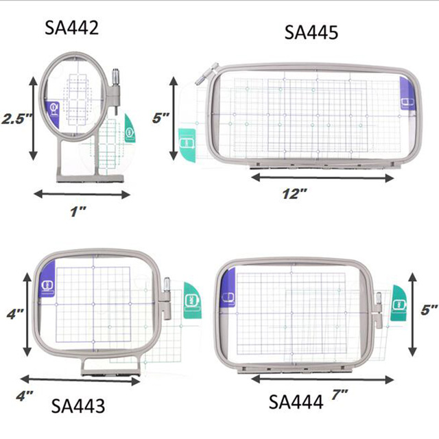 4PCS Embroidery Hoop Frame Set For Brother Innov-is 1250 1250D 700 PE-700 PE-700II PE-770 780D PC Babylock 4in1-A Sewing Machine