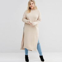 Autumn Winter Dress Plus Size Solid Women Clothing 5xl Side Split Knitted Maxi Long Dress Long