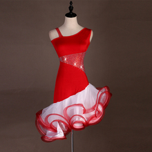 Standard Latin Dance Dress Women New Arrival Custom Made Red Tango Rumba Samba Skirt Competition Dresses