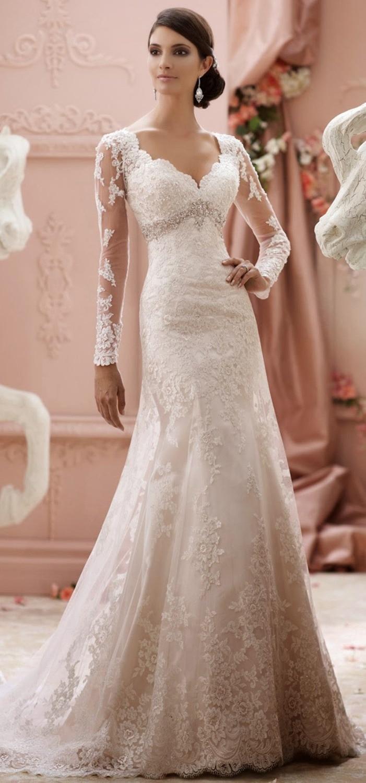 Elegant Wedding Dress Long Sleeve Lace Tulle Modest Bridal ...