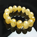 16mm Natural Brazil Yellow Hair Titanium Rutilated Quartz Crystal Round Loose Beads Women And Mens Stretch Bracelet Just One