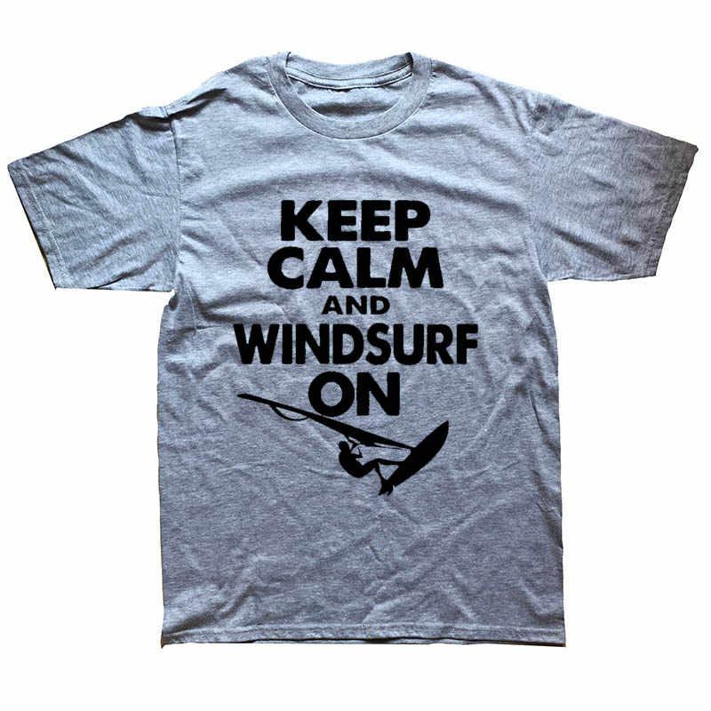 Tetap Tenang dan Selancar Angin Di Selancar Angin Pacar Kaos Lucu Grafis Fashion Baru Kapas Lengan Pendek O-Leher T-shirt