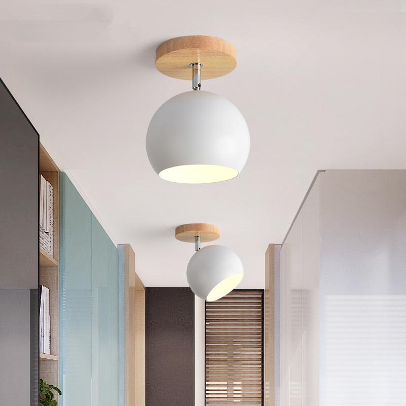 Nordic LED Ceiling Lights For Corridor Entran New Design Ceiling Lamp Modern Wooden E27 Kitchen Lighting Fixtures Wood Luminaire in Ceiling Lights from Lights Lighting