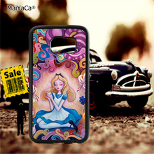 Alice wonderland cat soft TPU edge phone cases for samsung s6 edge plus s7 edge s8 plus s9 plus note5 note8 note9 cover case pop art sad girl soft tpu edge mobile phone cases for samsung s6 edge plus s7 edge s8 plus s9 plus note5 note8 note9 case