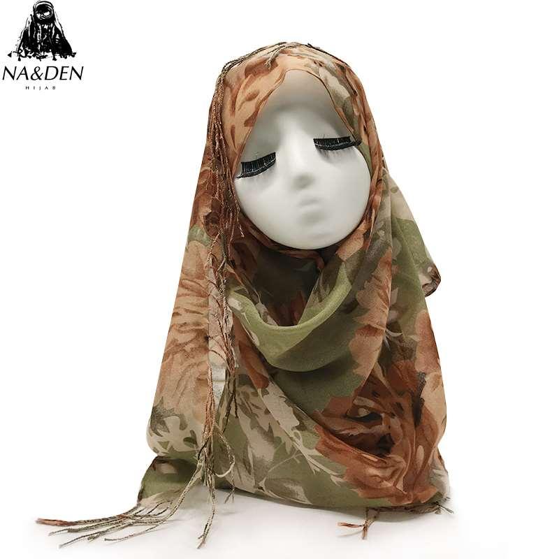 New Design flower print cotton scarf with tassel scarves high quality muslim hijabs wrap foulard islamic