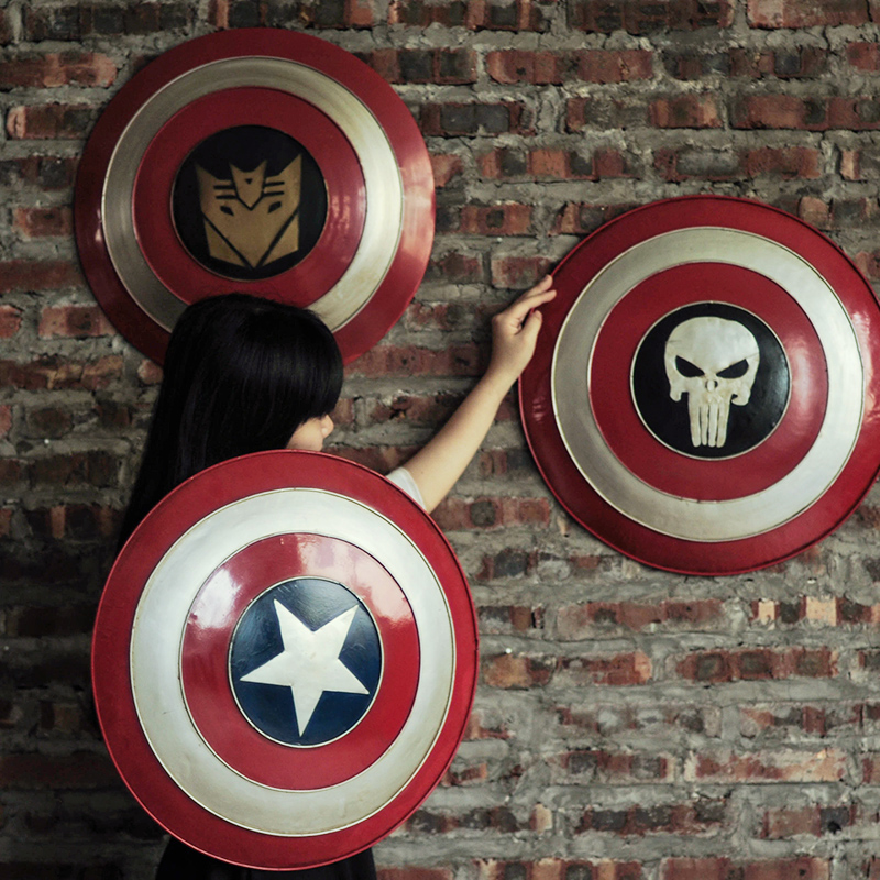 Vintage Style Captain America Club Bar Iron Shield Wall Decor Child Gift Hanging Home Decoration Accessories In Statues Sculptures