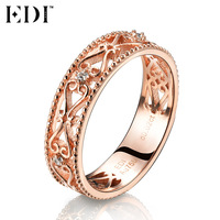 EDI Genuine Real 18k Rose Gold Bands Natural Diamond 0 02cttw Round Cut Wedding Rings For
