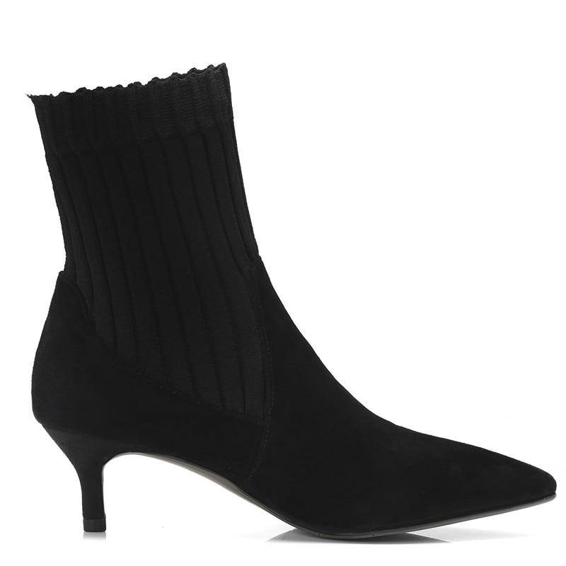 Otoño Cr1430 Punta Tobillo Gran Botas 33 Mujeres Delgados Enmayer Med De Tacones Zapatos Black Mujer Invierno Para 41 Bolso Tamaño SwqP8c4B