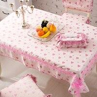 Coreano amor Heart-shaped lace Panos de cozinha Mesa de jantar de pelúcia Curto de Alta Qualidade rodada/Praça toalhas de mesa cobre
