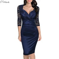 VITIANA Women Autumn Red Blue Patchwork Lace Dresses Sexy Half Sleeve V Neck Sheath Evening Bodycon