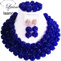 Brand Laanc Trendy Bridal Jewelry Set Christmas Gift Nigerian Wedding African Beads Crystal Royal Blue Big Ball AL171