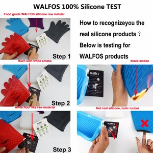 Image 5 - WALFOS 1 piece food grade Heat Resistant Silicone Kitchen barbecue oven glove Cooking BBQ Grill Glove Oven Mitt Baking glove