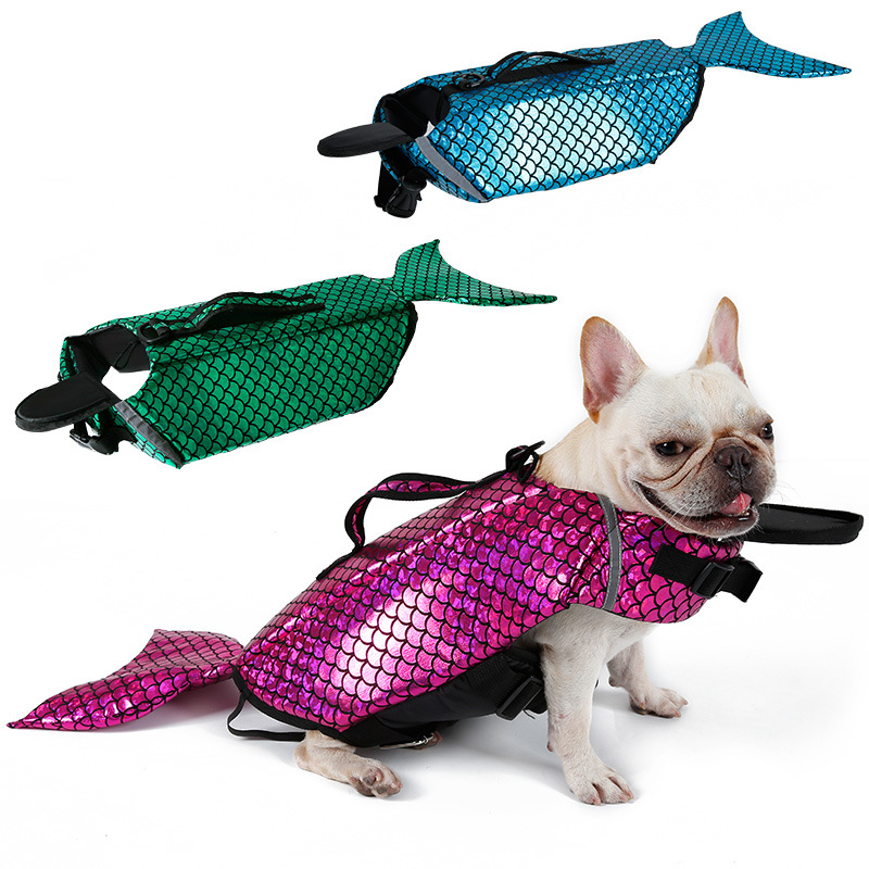 Pet dog safety clothes vest Mermaid Costume Waterproof Small Large Dog Life Jacket Fido Float swimwear Dog Life Preserver Saver