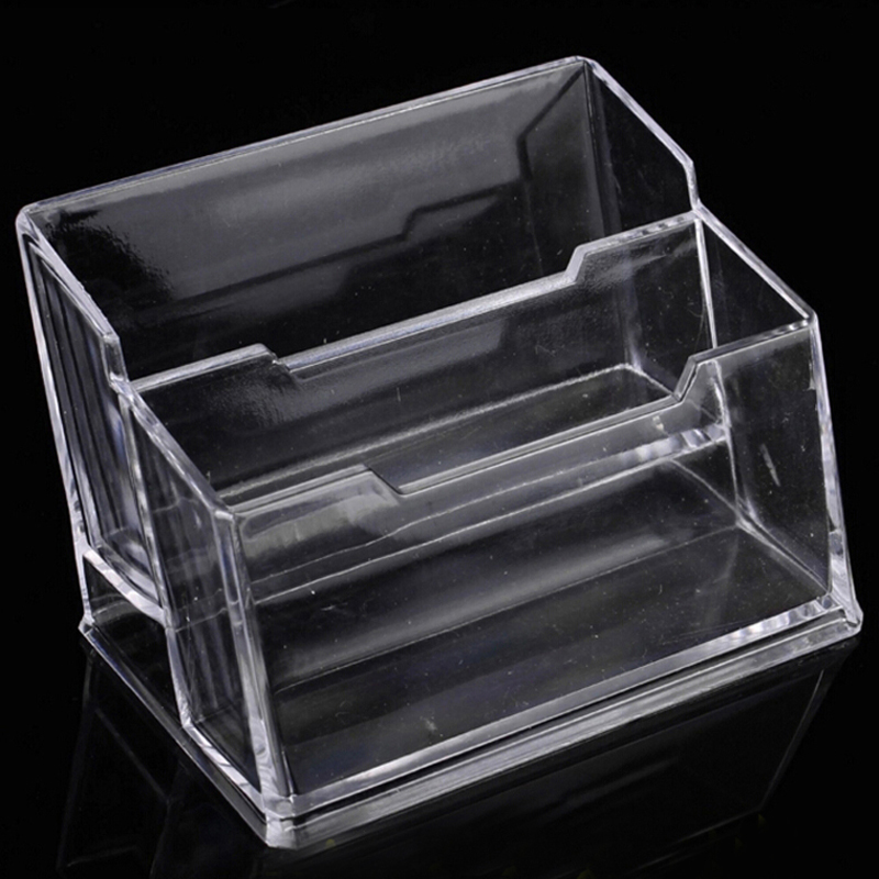 2pcs Double Layer Acrylic Business Card Holder School Office Destop Supplies Business Card Case Stationery Material Escolar-in Card Holder & Note ...