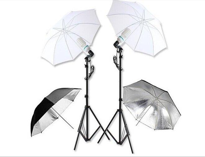 Photography Studio Set:Studio Lighting Umbrellas Translucent White soft Umbrella with 135W Lamp