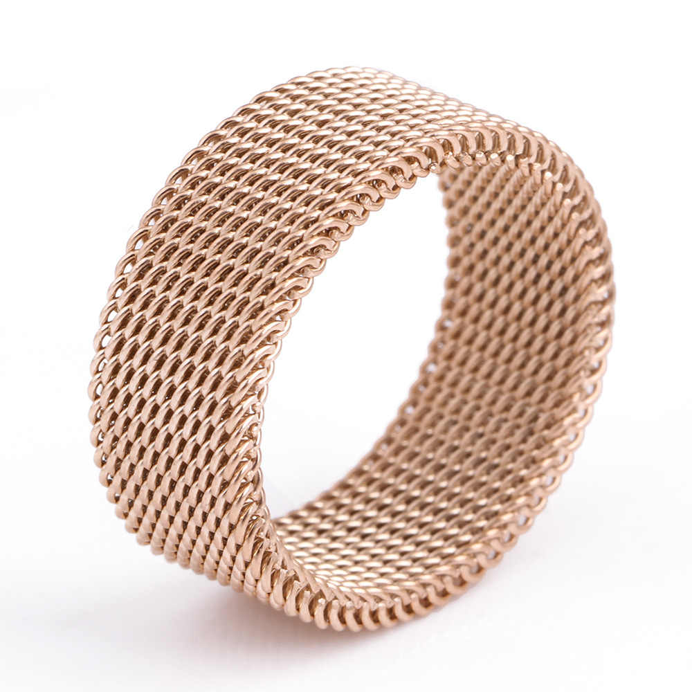 dropshipping Rose Gold Circle Woven Mesh Rings For Women Men Jewelry High Quality Stainless Steel Wedding Rings For Friends Gift