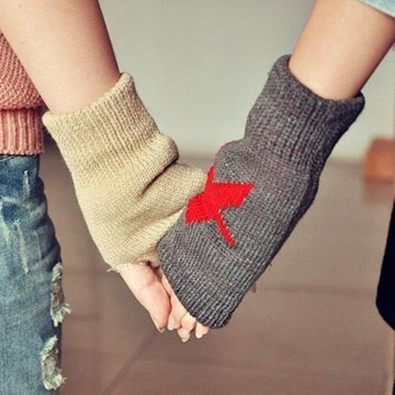 OMH venta al por mayor guantes de algodón para hombres y mujeres amantes guantes sin dedos de moda de color blanco y negro para chicas en invierno - 4