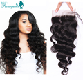 "5*5 Bleached Knots Lace Top Closure 6A Virgin Human Hair Peruvian Loose Wave 8""-24"" Free Middle Three Part Lace Closure"