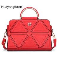 Neue Ankunft Dreieck Patc kwork Frauen Handtaschen Frühjahr Red Lady Umhängetaschen Marke Mode Umhängetasche Q5