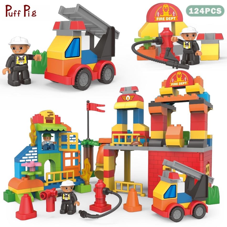 124pcs Big Size Building Blocks Duplo City Fire Station