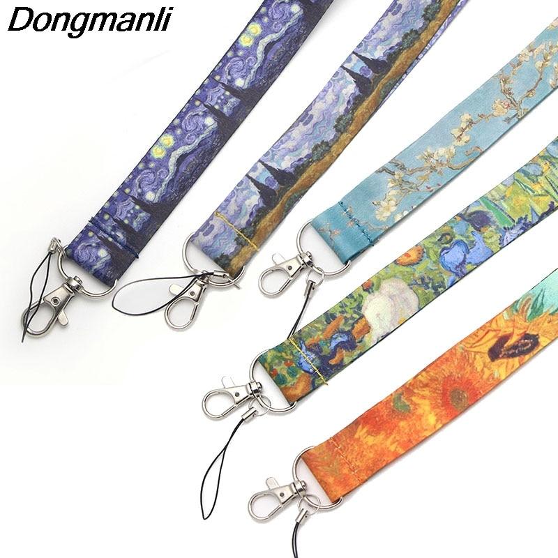 P1906 Dongmanli 1pcs Van Gogh Keychain Lanyards Id Badge Holder ID Card Pass Gym Mobile Phone USB Badge Holder Key Strap