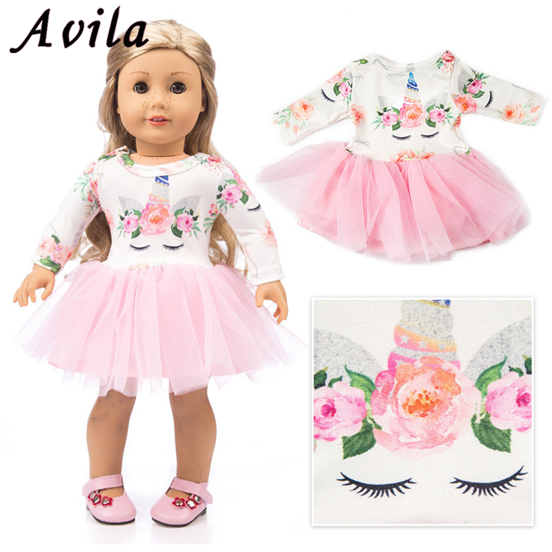 """For 43cm born baby dolls clothes lastic shirt lace dress for 18/"""" baby doll"""