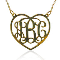 2015 Summer Jewelry Custom Necklace Heart Shape Gold Plated Monogram Necklace Design Your Own Personal Necklace